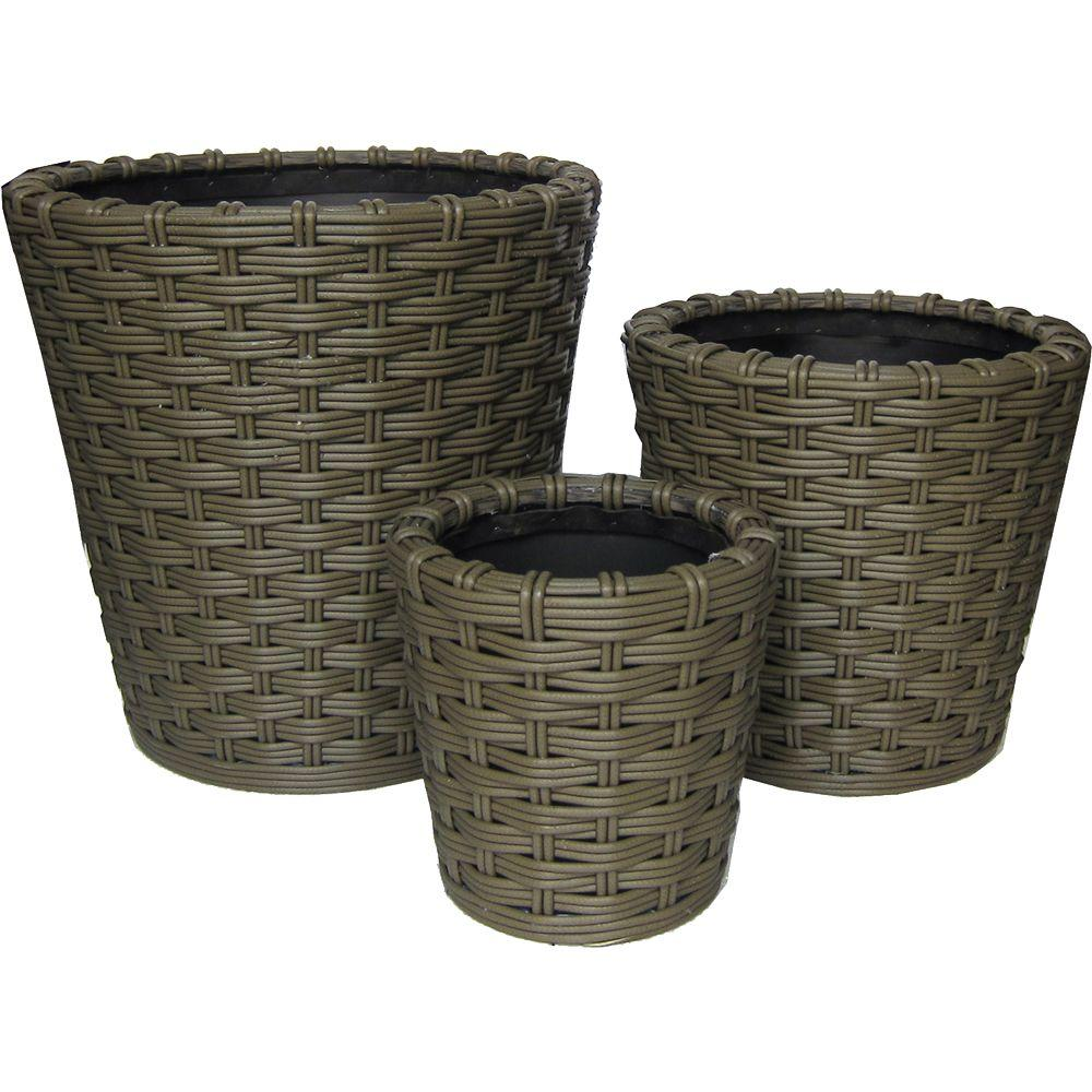 Pride Garden Products Vimini Collection Baston Round Olive Vinyl Planters (Set of 3)