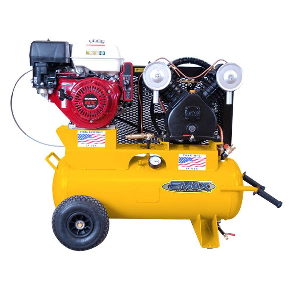 EMAX 17-Gal. 8 HP Gas 1-Stage Portable Wheels Air Compressor with Electric Start Honda Engine-DISCONTINUED