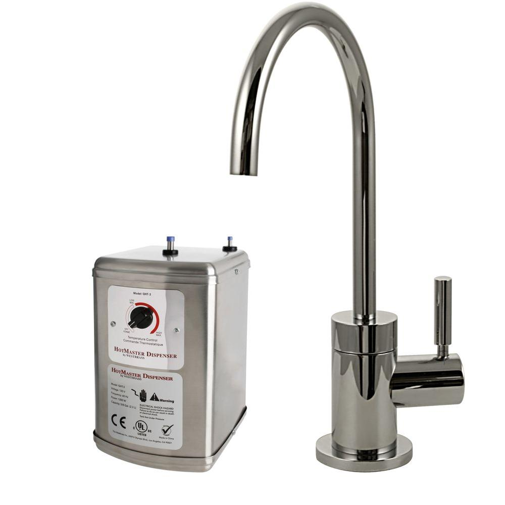 Contemporary Single-Handle Hot and Cold Water Dispenser Faucet in Polished