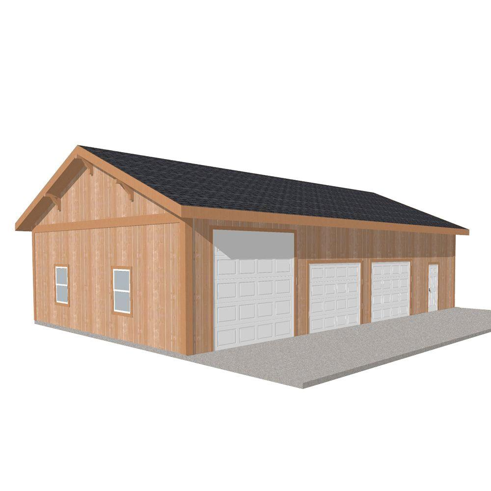 Barn Pros Workshop 50 ft. x 30 ft. Engineered Permit-Ready Wood