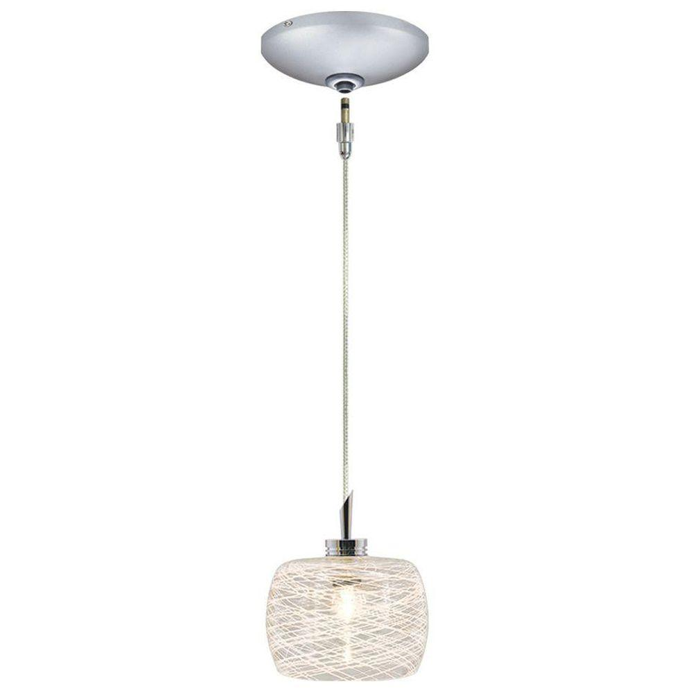 JESCO Lighting Low Voltage Quick Adapt 4-1/8 in. x 101 in. White Weaves on Frosted Glass Pendant and Canopy Kit