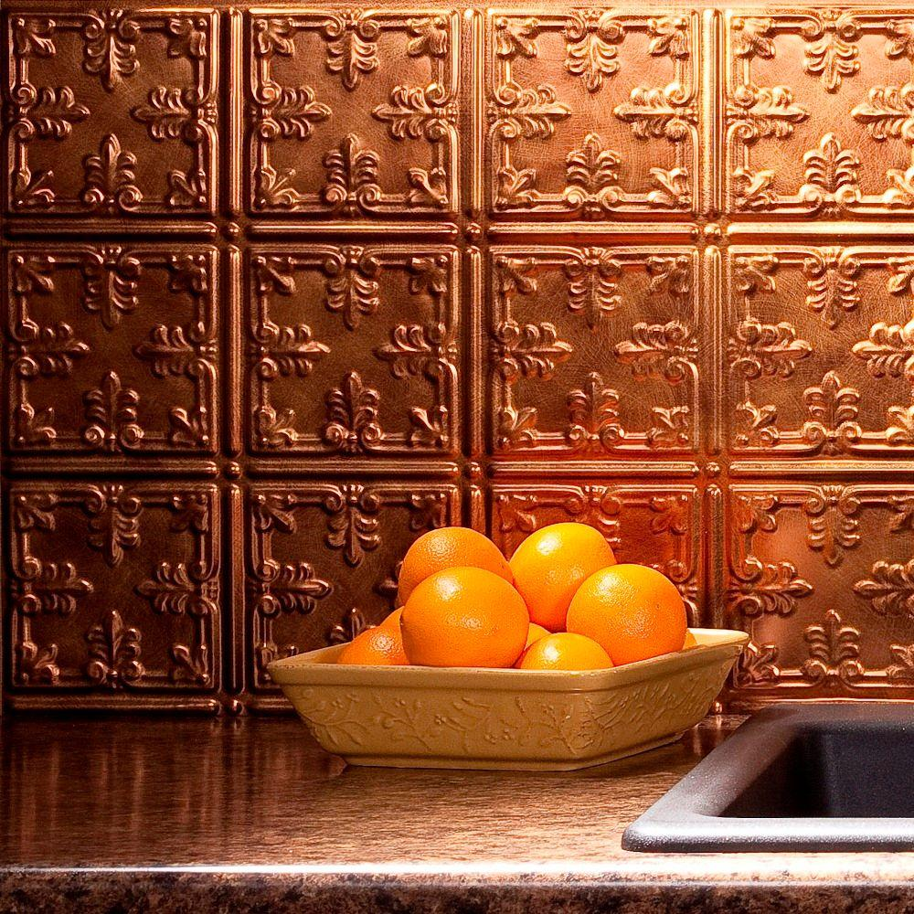 Fasade 24 in. x 18 in. Traditional 10 PVC Decorative Backsplash Panel in Antique Bronze