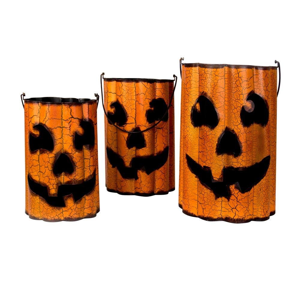 Home accents holiday holiday ornaments and decor halloween metal pumpkin halloween luminaries Halloween decorations home depot