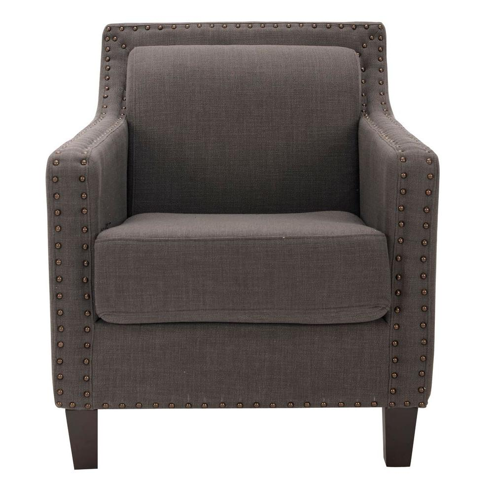 Safavieh Charles George Linen and Polyester Arm Chair in Charcoal Brown-MCR4549A