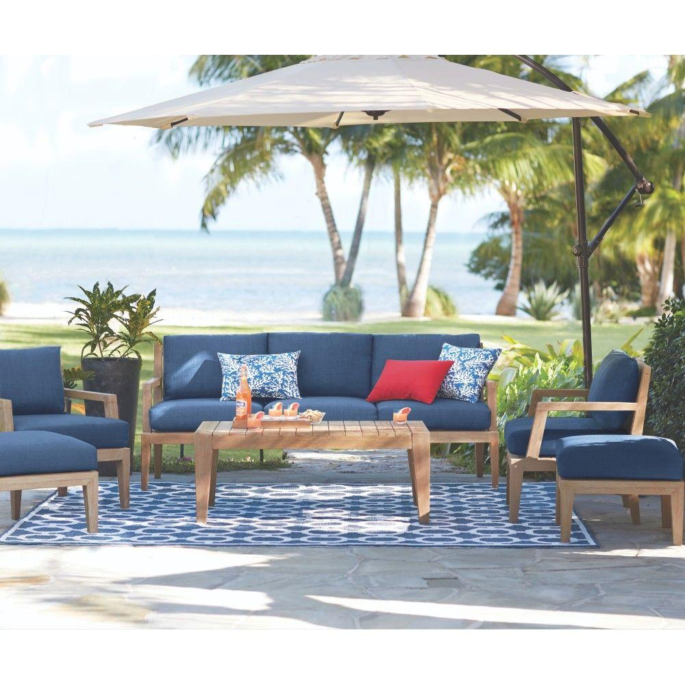 Bermuda 6 Piece All Weather Eucalyptus Wood Patio Deep Seating Set With  Indigo Fabric  Home Depot Patio