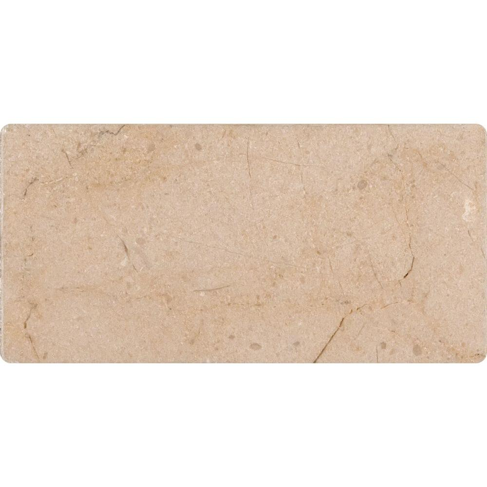 Crema Marfil 3 in. x 6 in. Polished Marble Floor and Wall Tile (1 sq. ft. / case), Beige