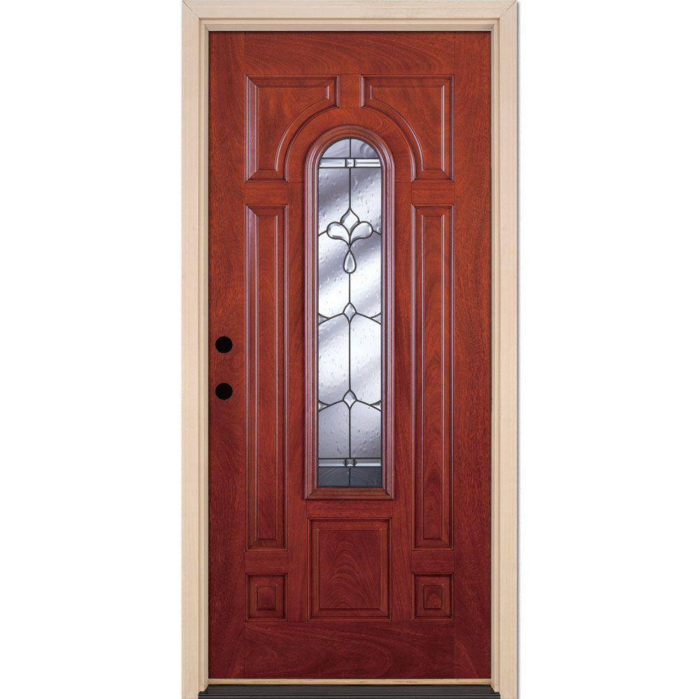 Feather River Doors 37.5 in. x 81.625 in. Carmel Patina Center Arch Lite Stained Cherry Mahogany Left-Hand Fiberglass Prehung Front Door