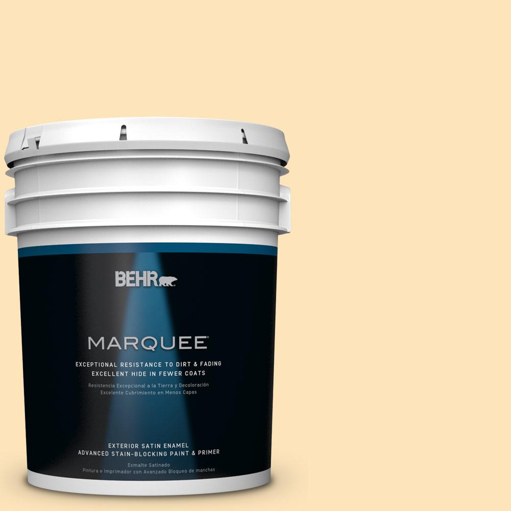 BEHR MARQUEE 5-gal. #BIC-28 Butter Creme Satin Enamel Exterior Paint-945005 -