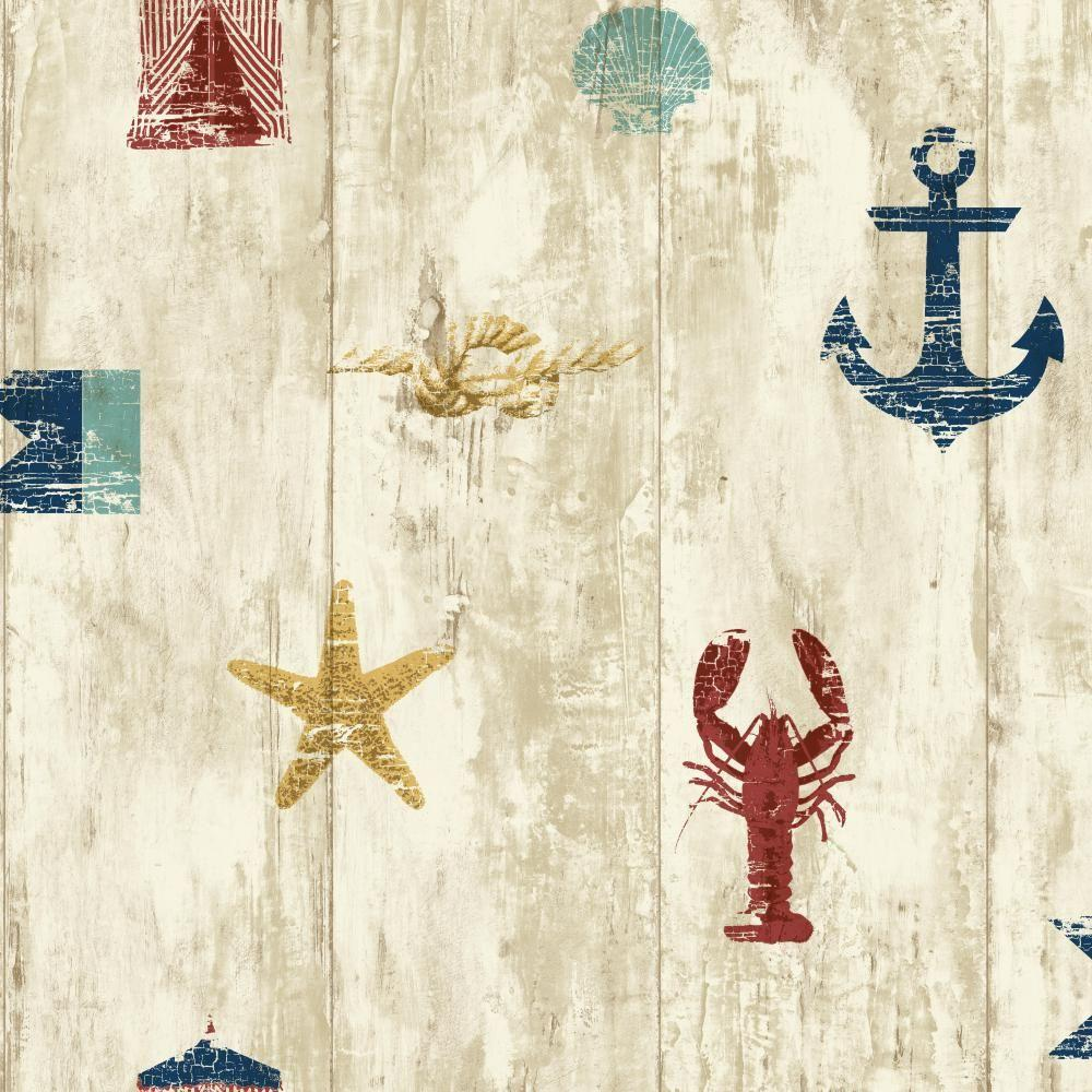 York Wallcoverings 56 sq. ft. Nautical Living Weathered Seashore
