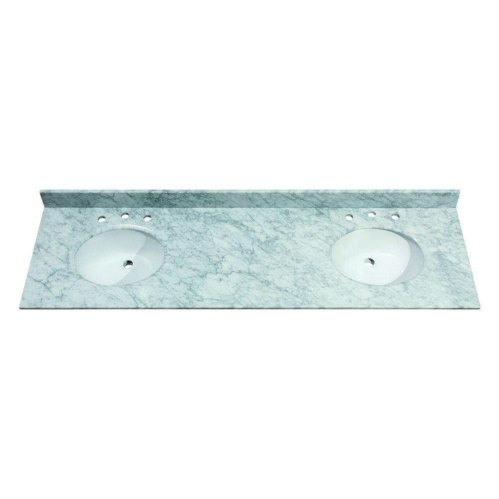 Avanity 73 in. Marble Vanity Top in White without Basin