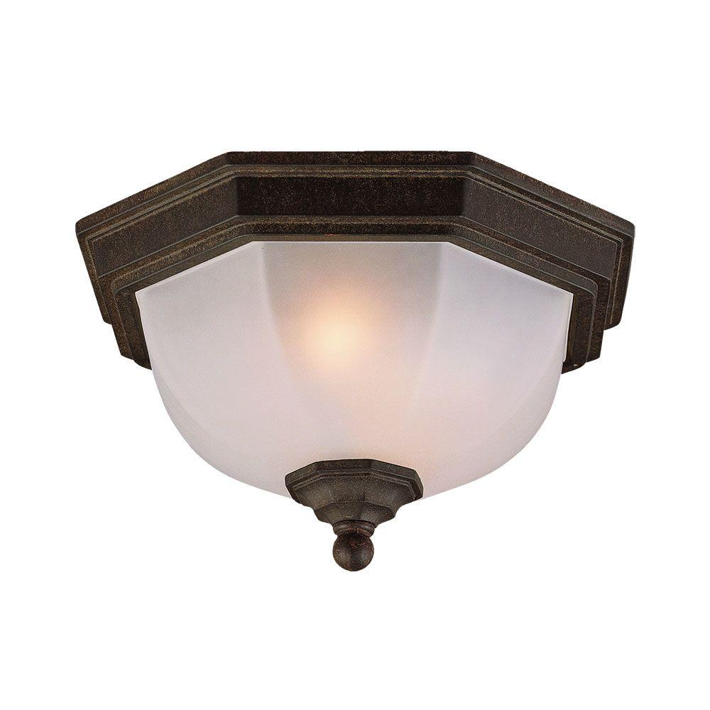 Acclaim lighting flushmount collection ceiling mount 2 light black coral outdoor light fixture for Exterior ceiling light fixture