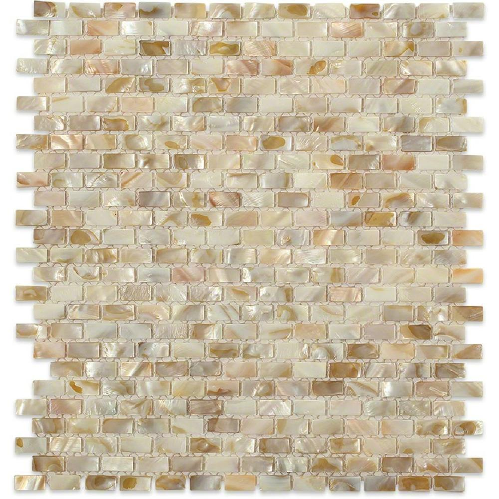 Splashback Tile Baroque Pearls Mini Brick 12 in. x 12 in. Pearl Glass Mosaic Floor and Wall Tile