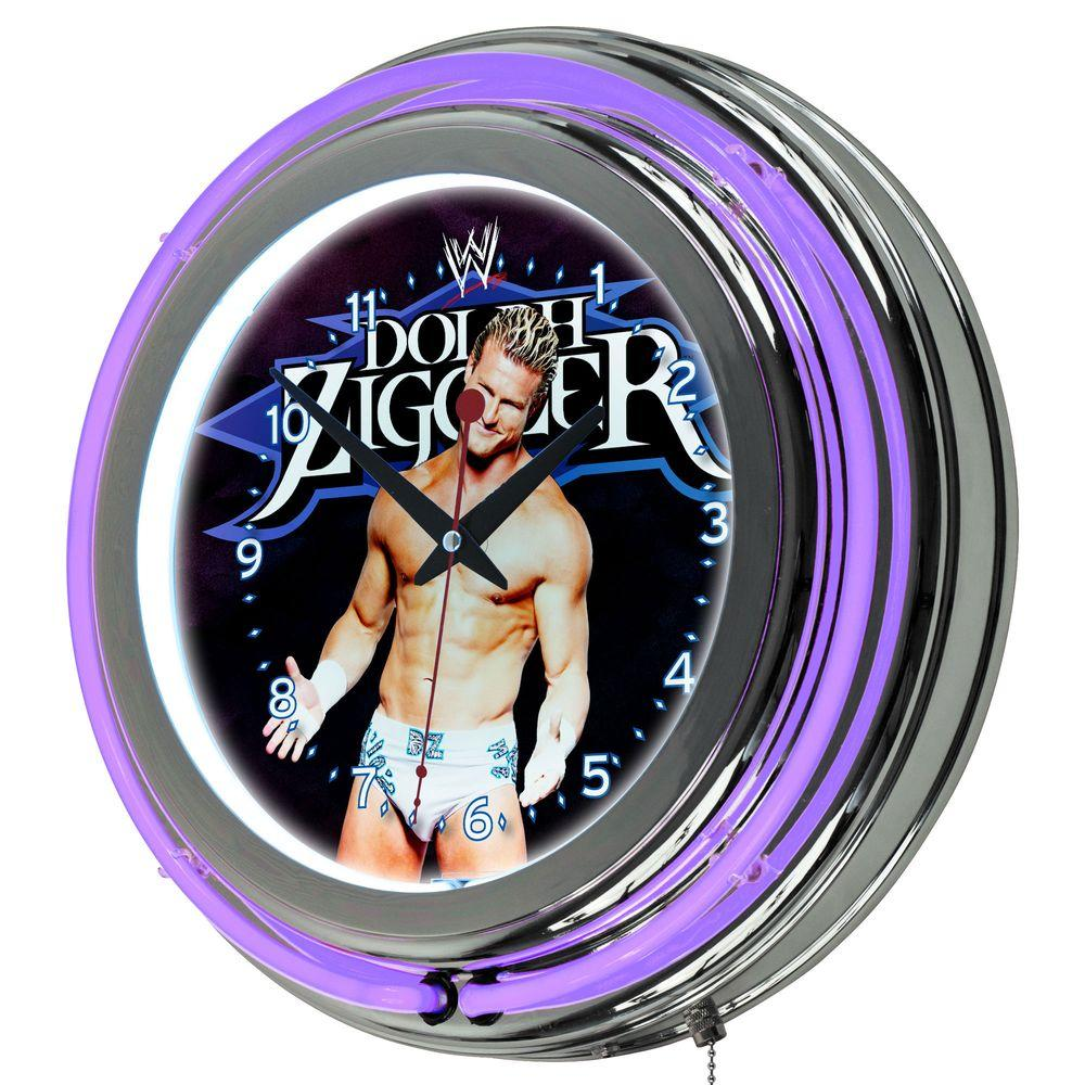 Trademark 14 in. WWE Dolph Ziggler Double Ring Neon Wall Clock