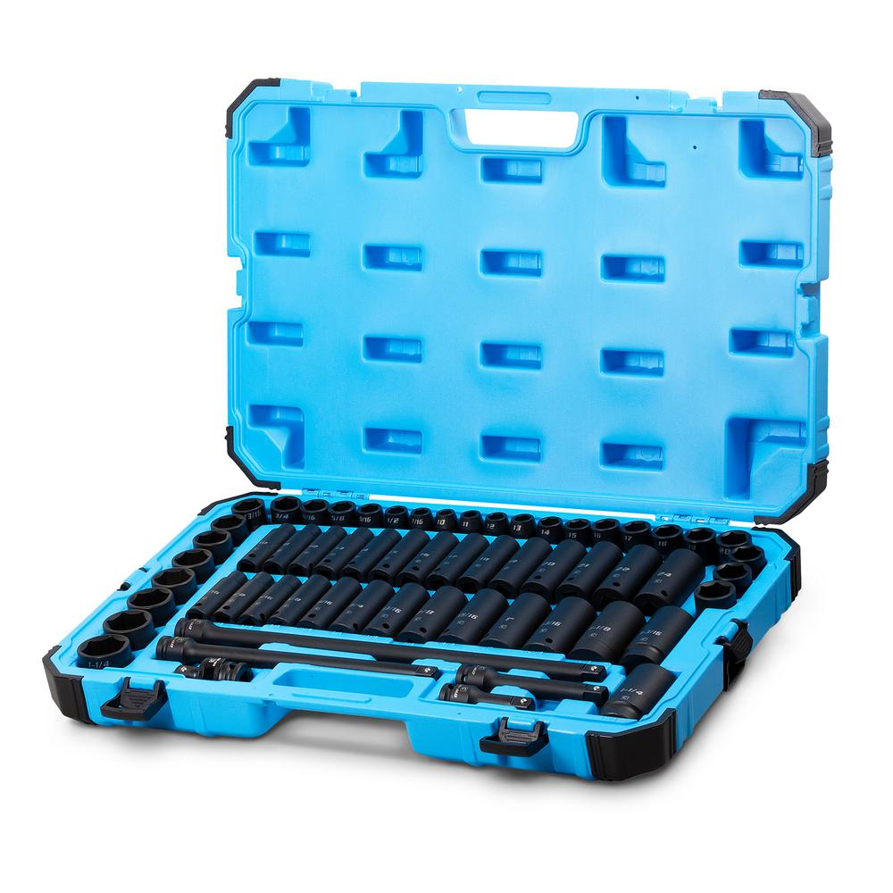 1/2 in. Drive SAE/Metric Master Impact Socket Set with Adapters and