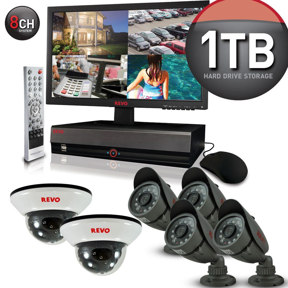 Revo 8-Channel 1TB DVR4 Surveillance System with 18.5 in. Monitor and (6) 600 TVL 33 ft. Nightvision Cameras-DISCONTINUED