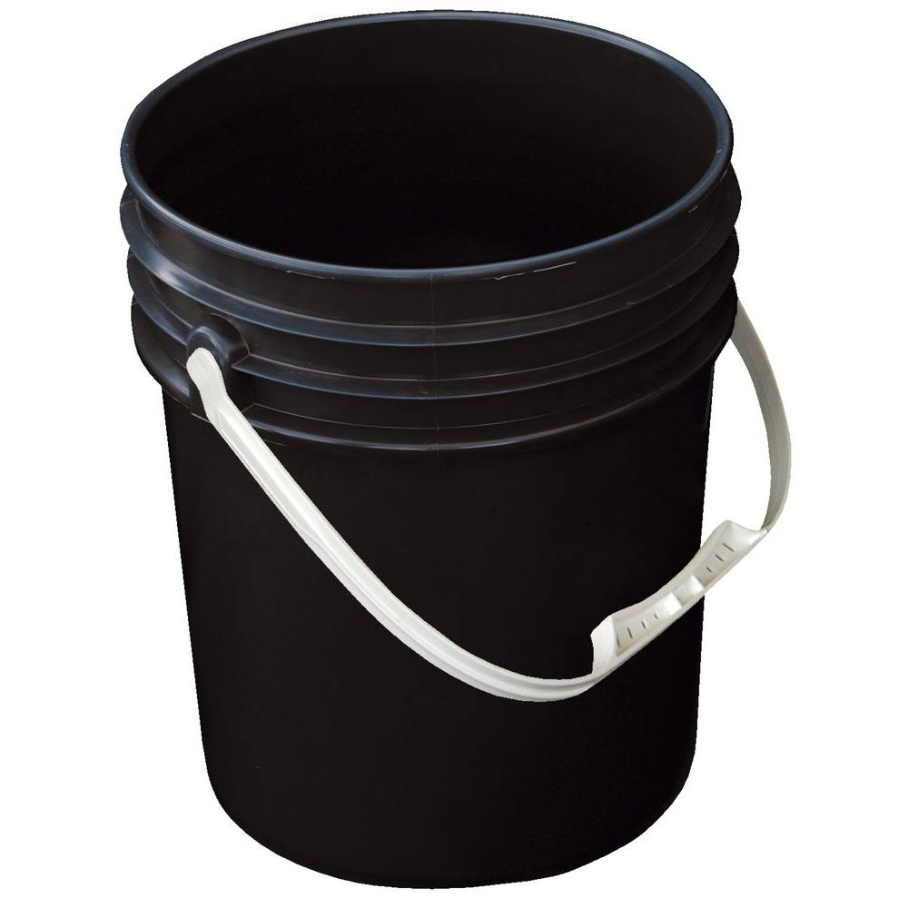 5 Gal. Black Open Head Pail with Plastic Handle