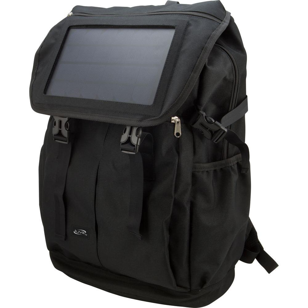 iLive Solar Panel Rechargeable Back Pack-IABB56B - The Home Depot