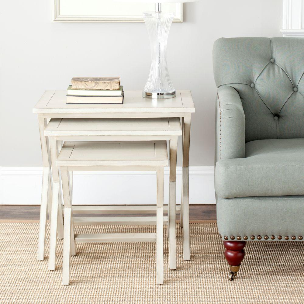 Maryann White Washed Nesting End Table