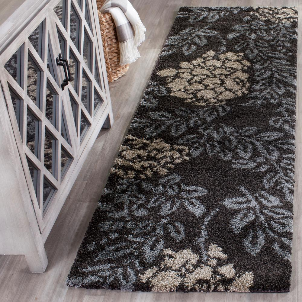 Florida Shag Dark Brown/Gray 2 ft. 3 in. x 7 ft.