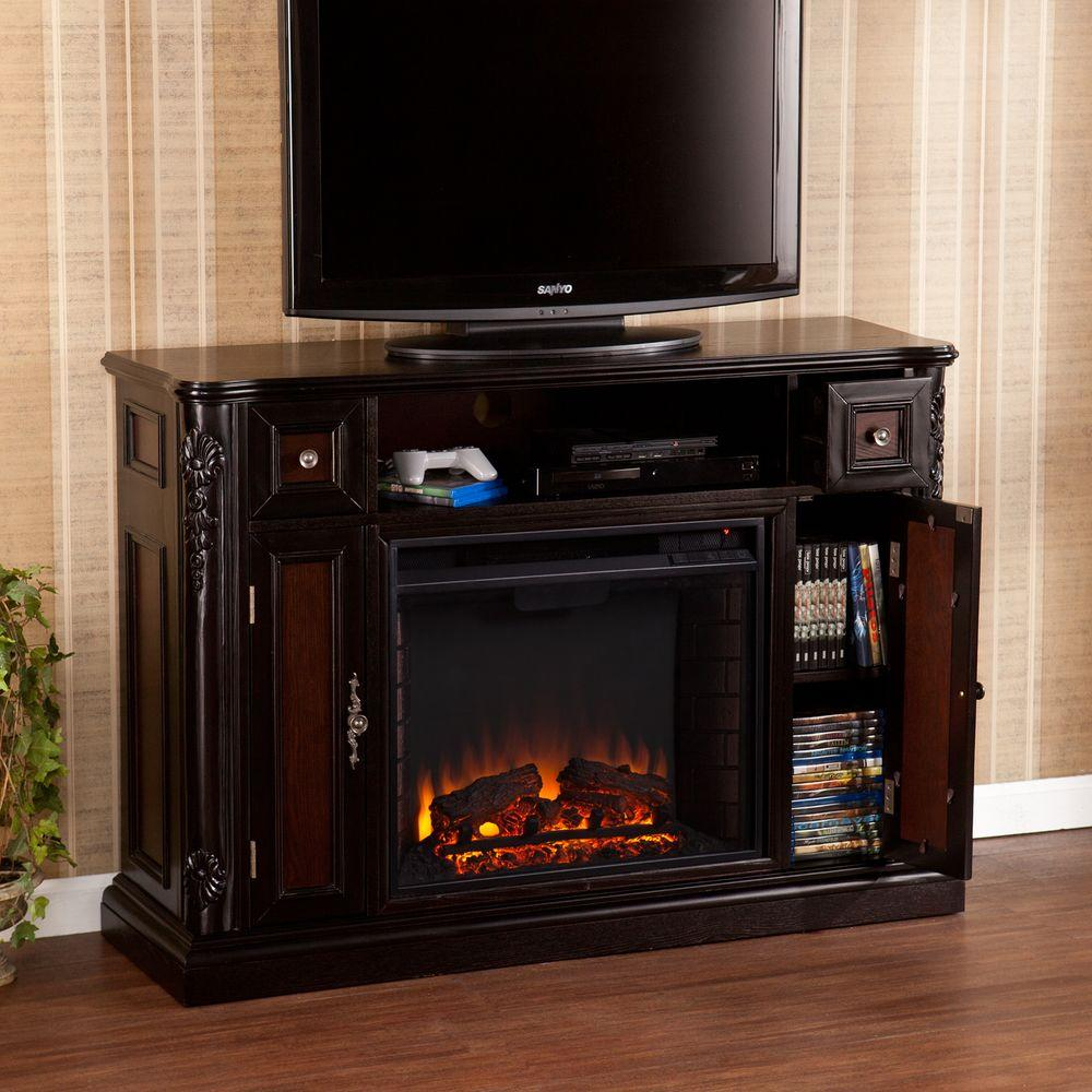 Adal 48.25 in. Freestanding Media Electric Fireplace in Ebony with Reversible