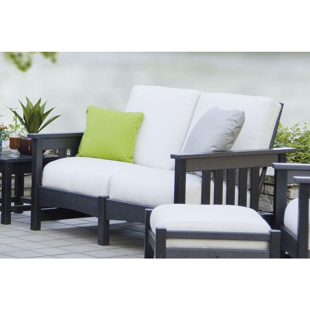 POLYWOOD Mission Black Patio Settee with Bird's Eye Cushions