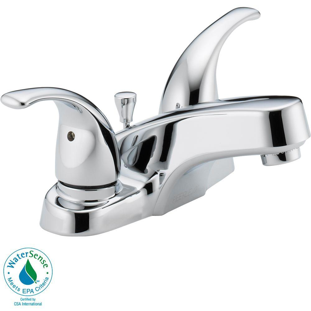 Peerless 4 in. Centerset 2-Handle Low-Arc Bathroom Faucet in Chrome