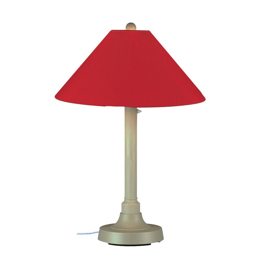 Patio Living Concepts San Juan 34 in. Outdoor Bisque Table Lamp with Jockey Red Shade