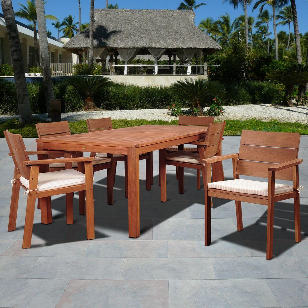 Mariner 7-Piece Patio Dining Set with Beige and White Striped