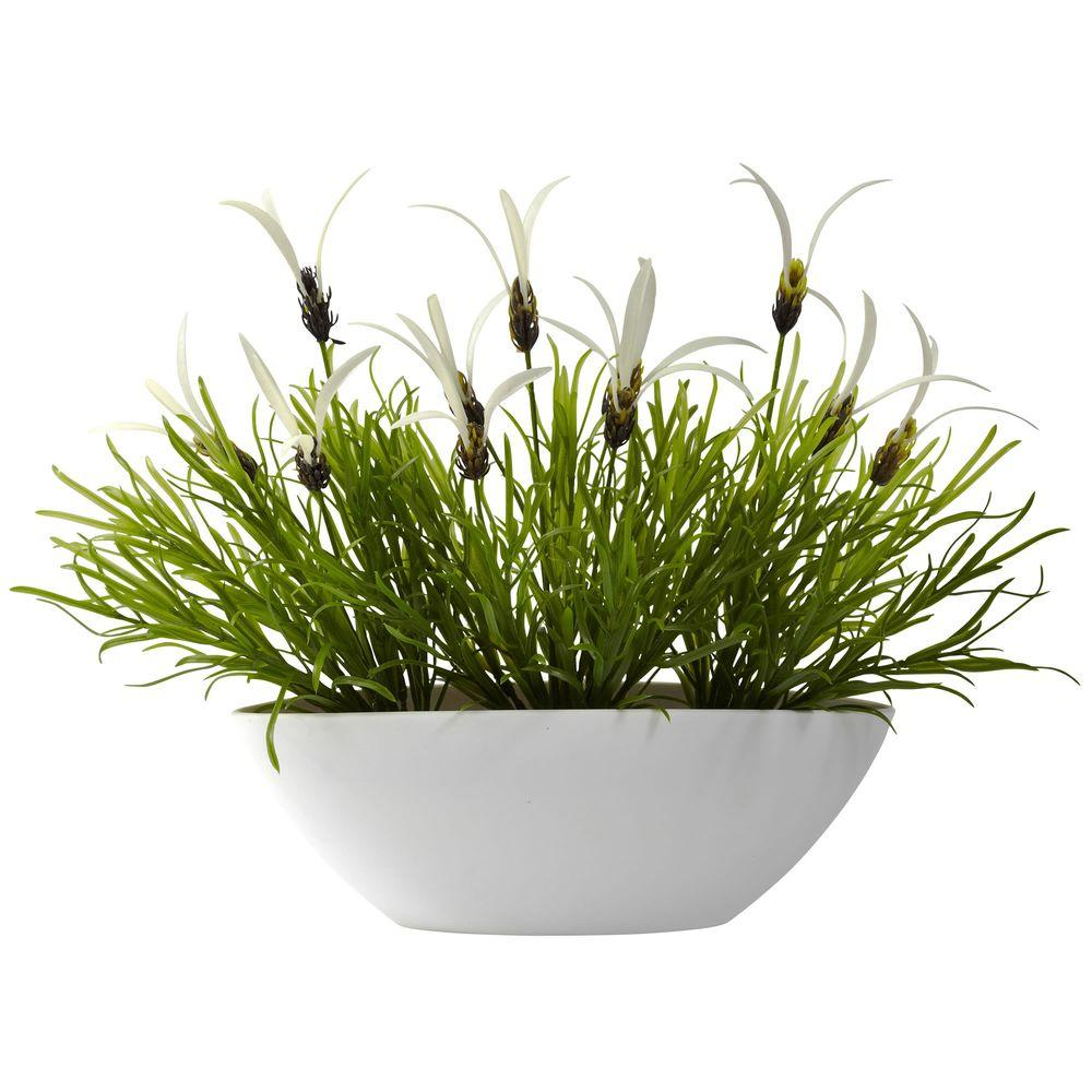 Nearly Natural Indoor/Outdoor Grass and White Floral with White Planter-4955-WH