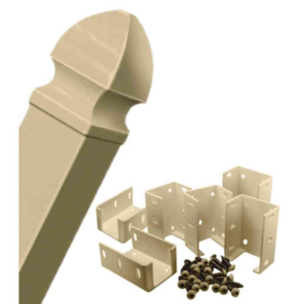 4-3/4 in. x 4-3/4 in. x 8 ft. Wicker Vinyl Fence Post and Post Cap with Aluminum Hardware