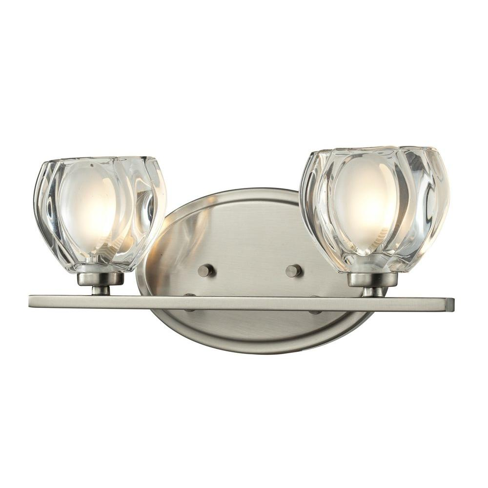 Bathroom Nickel Bathroom Lights Bathroom Lighting Chrome Finish Light Vanity Fixture Chrome: Home Decorators Collection 2-Light Brushed Nickel Retro Vanity Light-1001564507