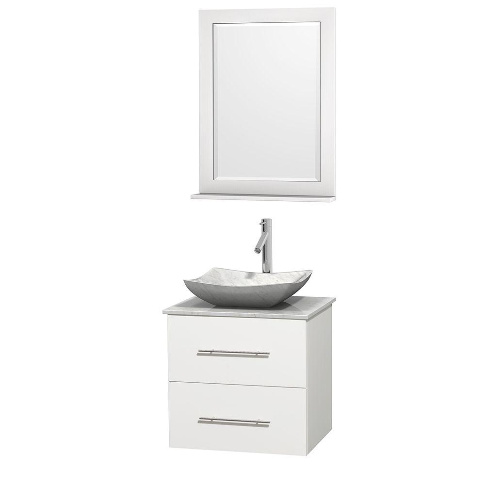 Wyndham Collection Centra 24 in. Vanity in White with Marble Vanity Top in Carrara White, Marble Sink and 24 in. Mirror