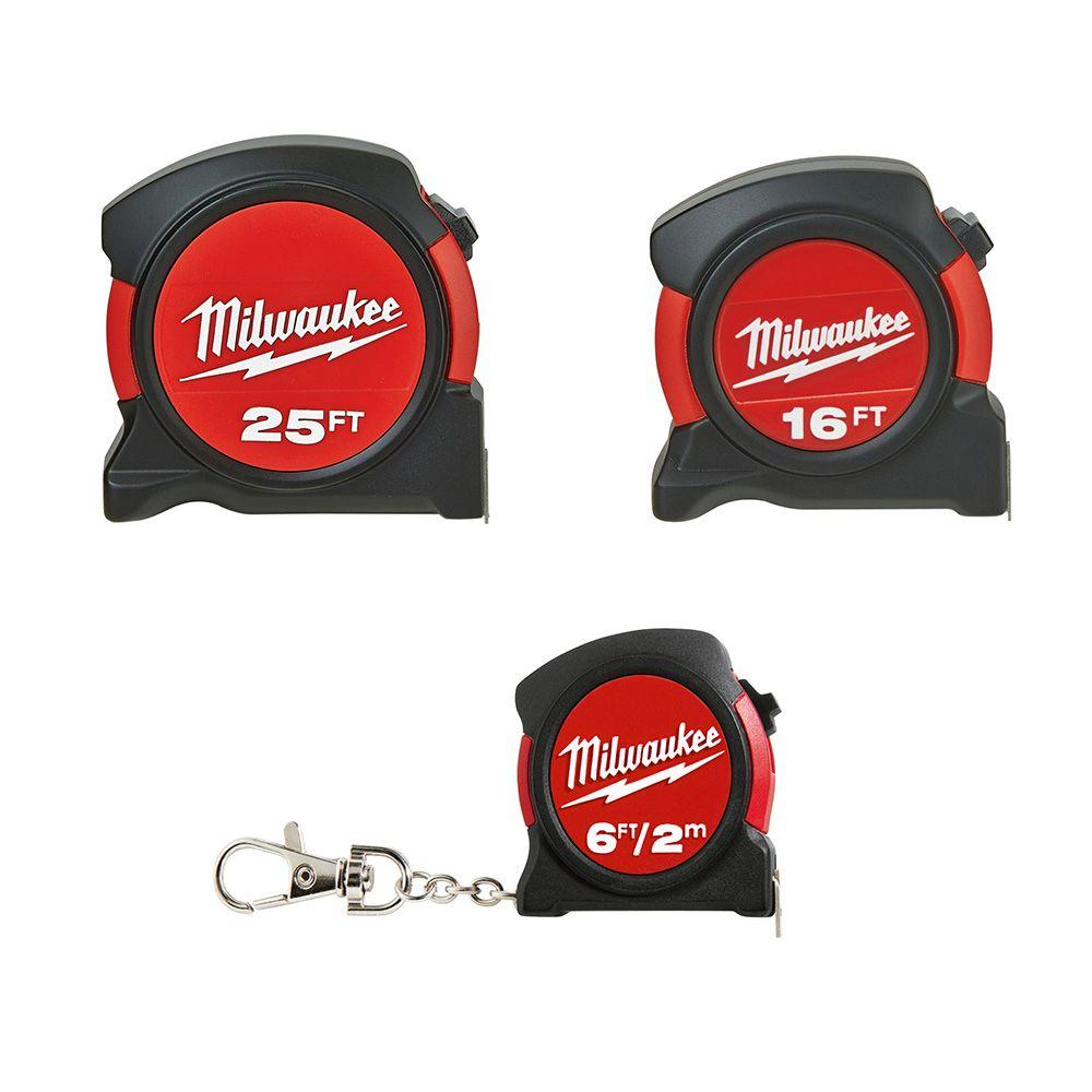 Milwaukee 6 ft./16 ft./25 ft. Tape Measure (3-Pack)-48-22-5525P - The Home