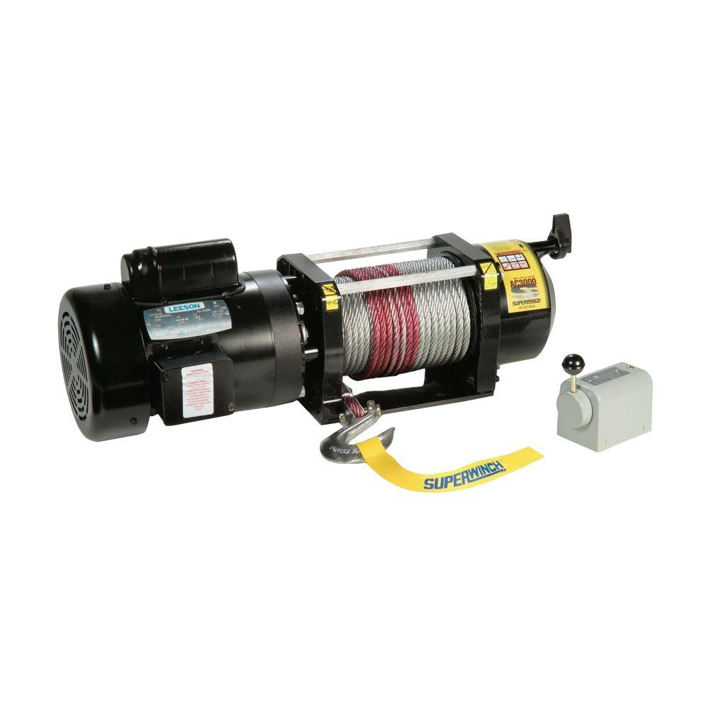 AC3000 115-Volt AC Industrial Winch with Free-Spooling Clutch and Drum Switch