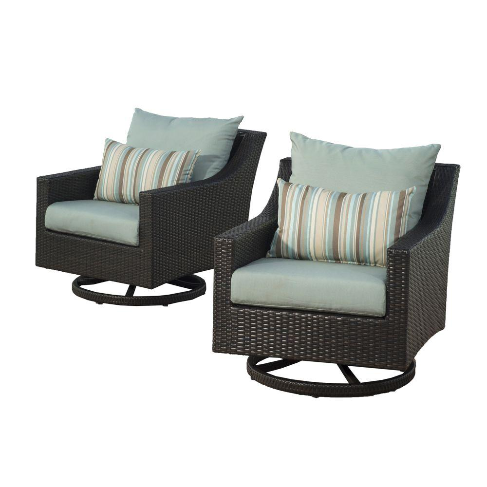 Deco All-Weather Wicker Motion Patio Lounge Chair with Bliss Blue Cushions