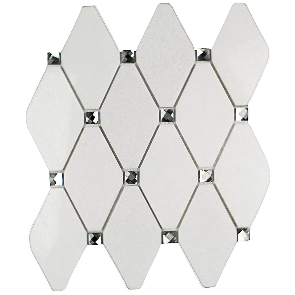 Mirage Lozenge Thassos Marble and Glass Wall Mosaic Tile - 3