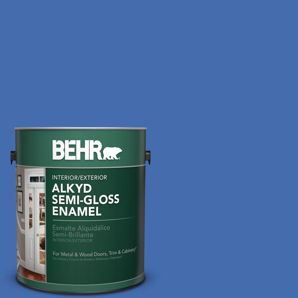 1 gal. #PPU15-5 New Age Blue Semi-Gloss Enamel Alkyd Interior/Exterior Paint
