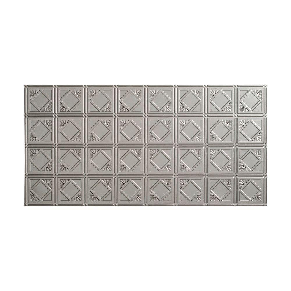 Fasade Traditional 4 - 2 ft. x 4 ft. Glue-up Ceiling Tile in Argent Silver