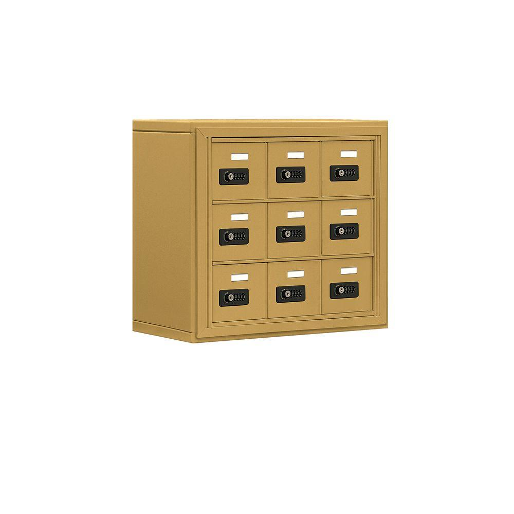 Salsbury Industries 19000 Series 24 in. W x 20 in. H x 9.25 in. D 9 A Doors S-Mount Resettable Locks Cell Phone Locker in Gold