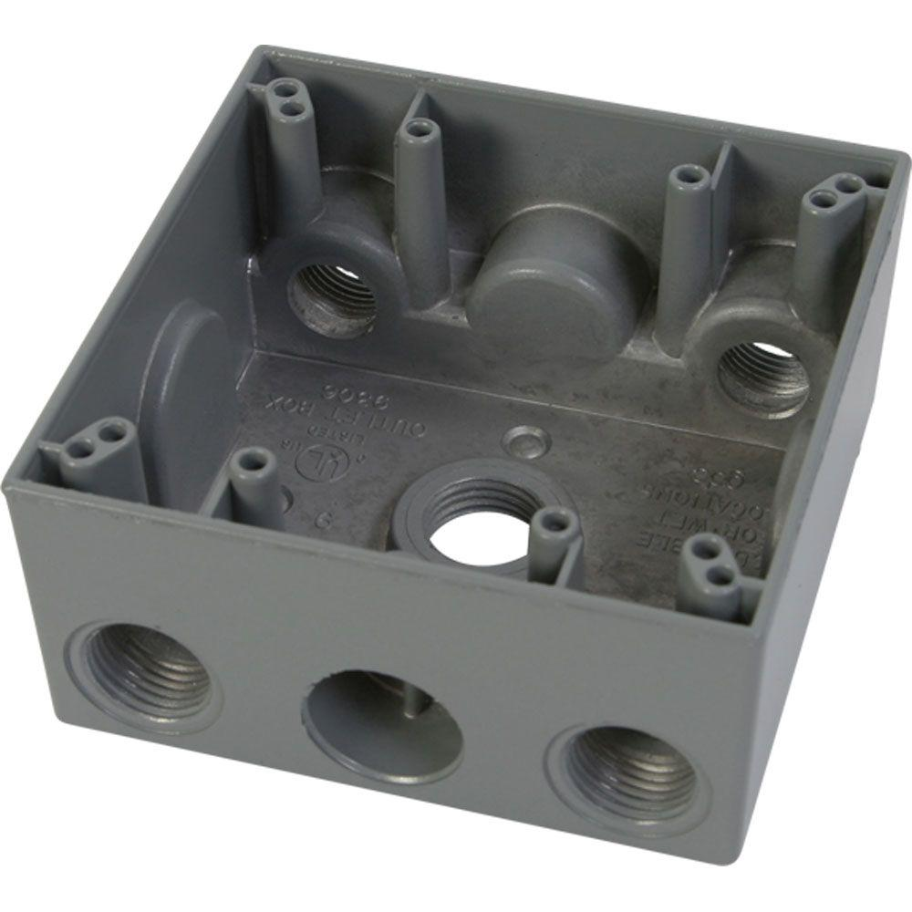 Greenfield 2 Gang Weatherproof Electrical Outlet Box with Five 1/2 in. Holes - Gray
