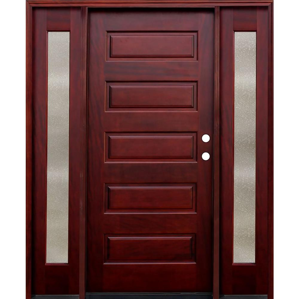 Pacific Entries 70 in. x 80 in. Contemporary 5-Panel Stained Mahogany Wood Prehung Front Door with 12 in. Seedy Sidelites