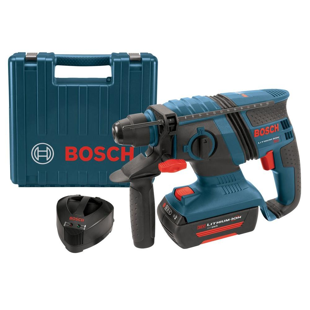 Bosch 36-Volt Lithium-Ion 1 in. Corded Compact SDS-Plus Rotary Hammer with 1 SlimPack Battery