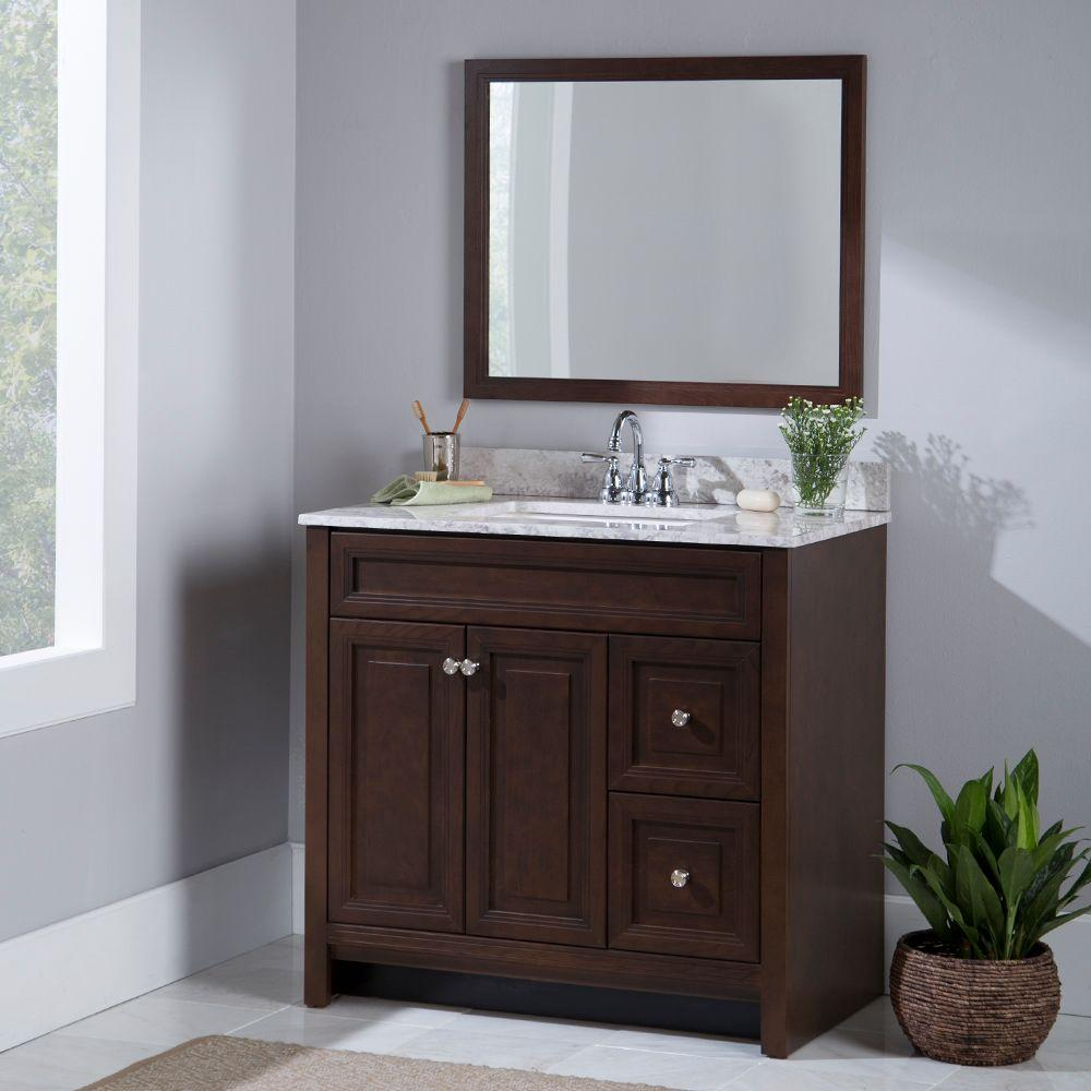 Home Decorators Collection Brinkhill 49 In W X 39 In H X 22 In D Bathroom Vanity In Cognac With Stone Effect Vanity Top In Dune Bwsd48comdn Cg The Home Depot