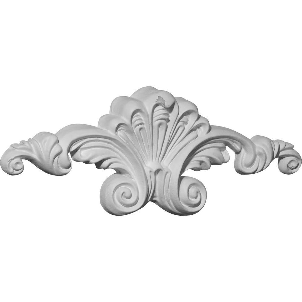 Ekena Millwork 7/8 in. x 8-5/8 in. x 3-1/8 in. Polyurethane Scroll Center Onlay Moulding