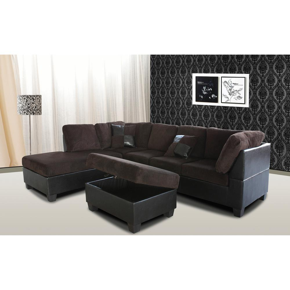 Taylor Left Sectional Sofa and Ottoman in Chocolate Brown Corduroy