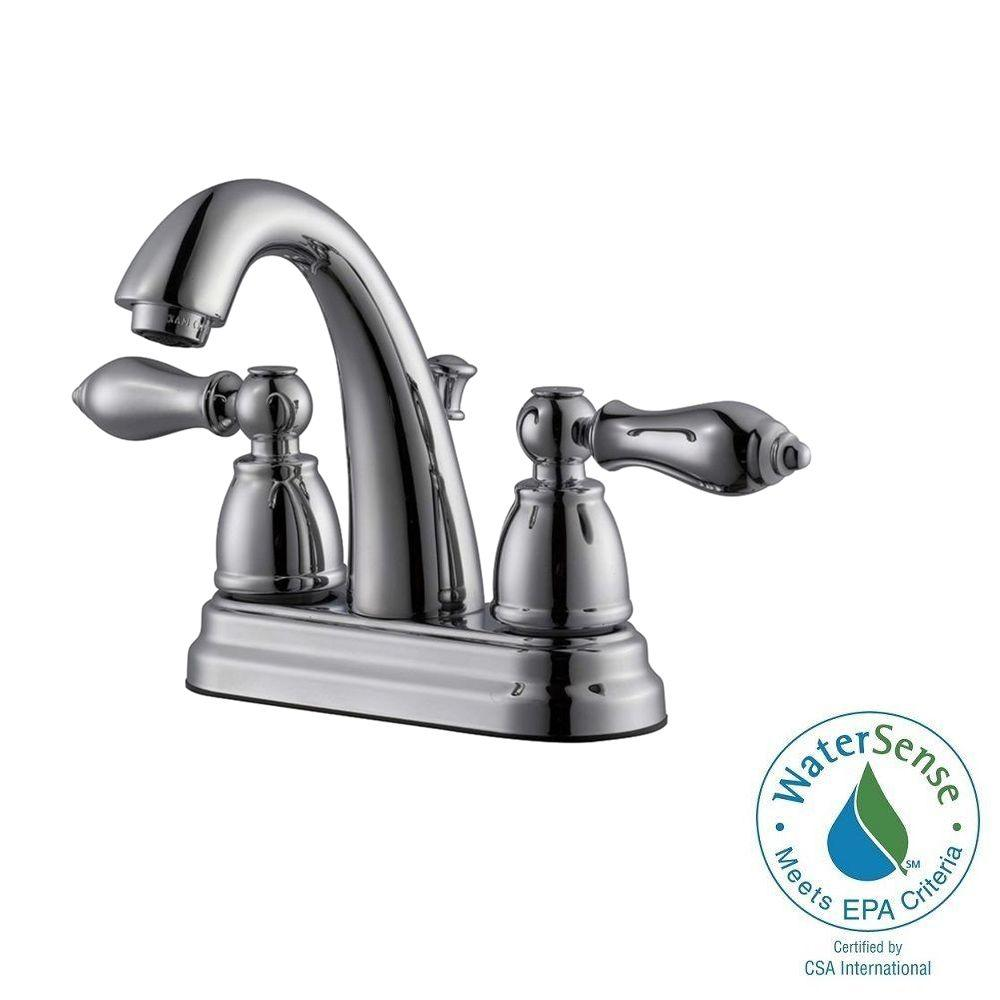 Hathaway 4 in. Centerset 2-Handle Bathroom Faucet in Polished Chrome