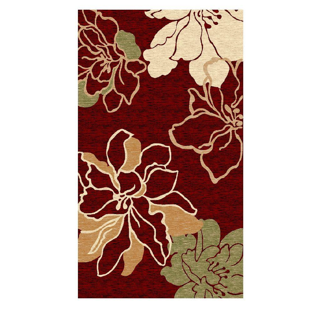 Milan Collection Red and Ivory 1 ft. 10 in. x 2