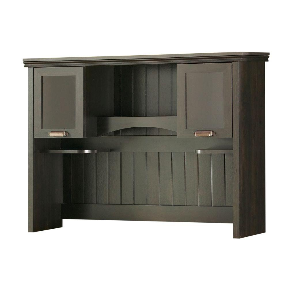 South Shore Gascony Desk Hutch in Ebony and Spice/Wood