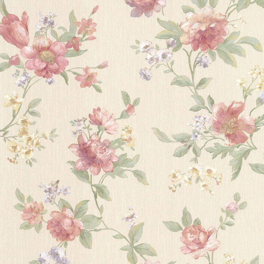 Mirage 56 sq. ft. Empress Salmon Floral Trail Wallpaper-991-68209 - The