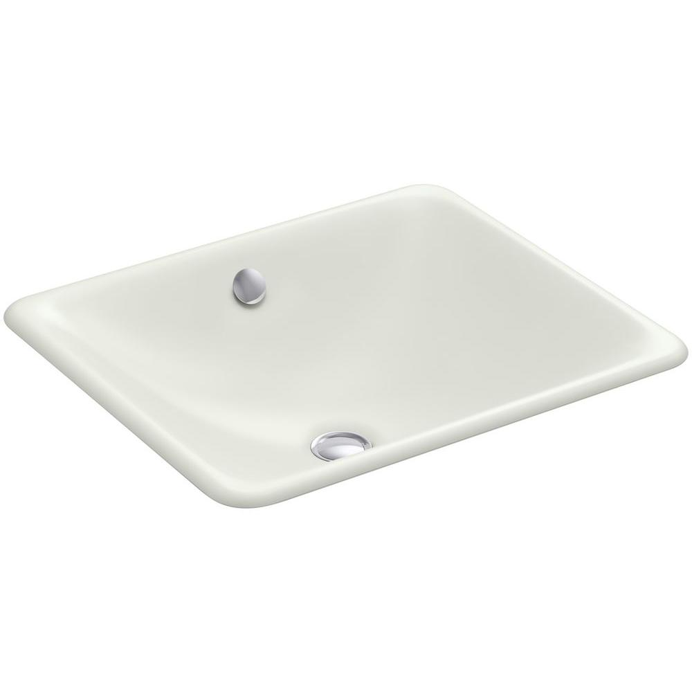 KOHLER Iron Plains Dual-Mounted Cast Iron Bathroom Sink in Dune with Overflow Drain